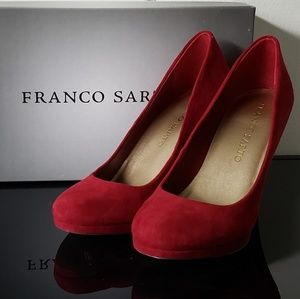 Franco Sarto red/burgundy suede heels